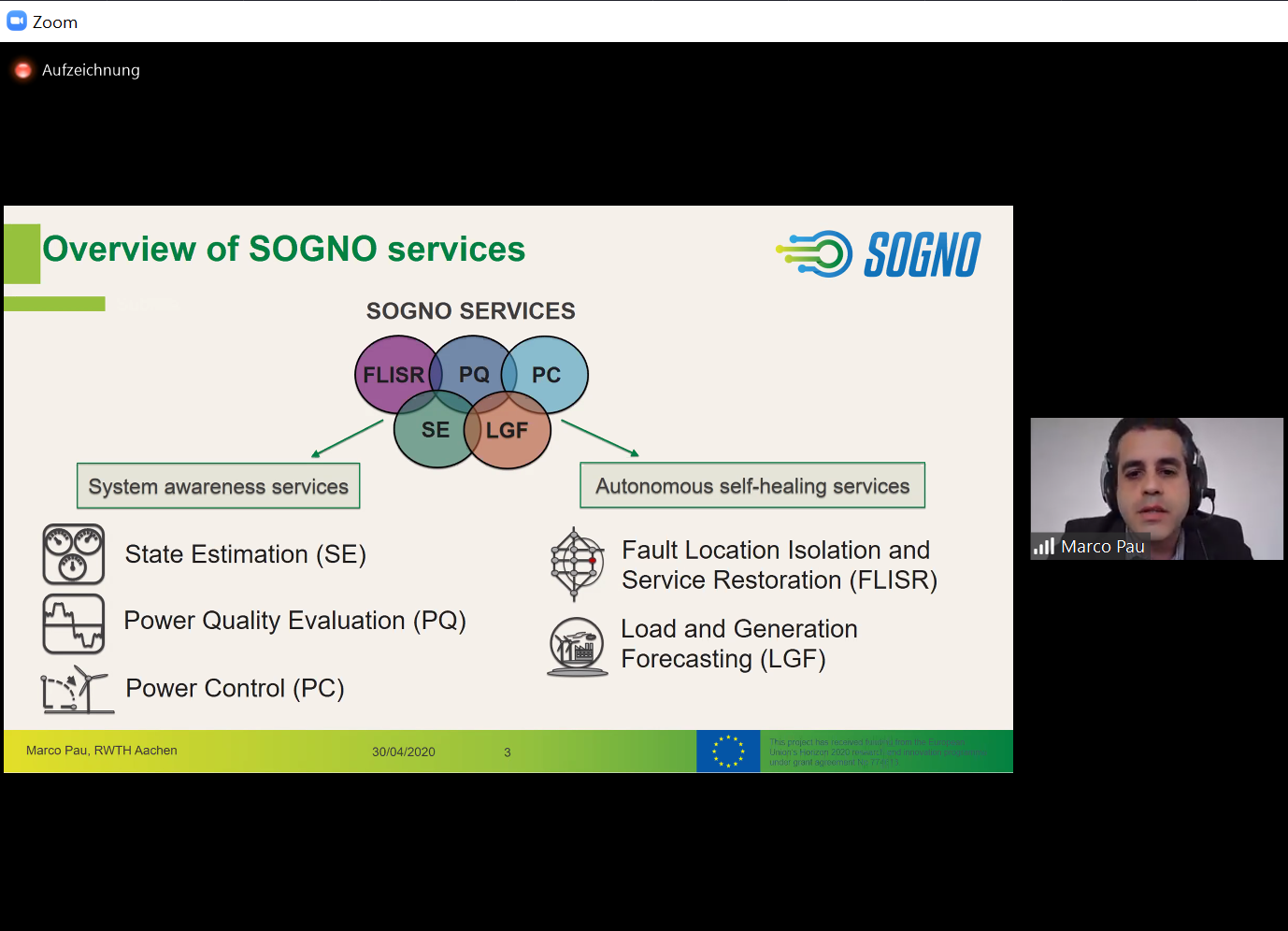 Marco Pau from RWTH presenting the SOGNO services
